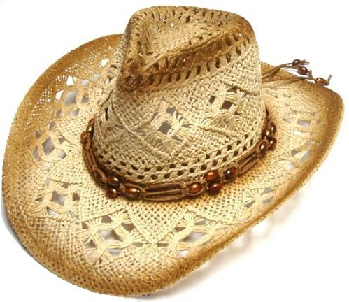 Sst 023 Brown Crochet Straw Cowboy Hat