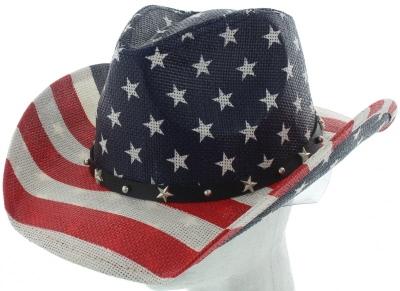 5167eb064c512 US flag straw cowboy hat -sST-070-WHITE